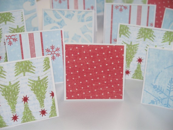 Country Christmas Mini Note Cards / Gift Tags / Place Cards - Set of 24