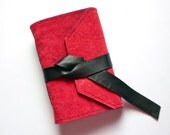 Handbound Leather Suede Journal or Sketchbook  - Cherry Red