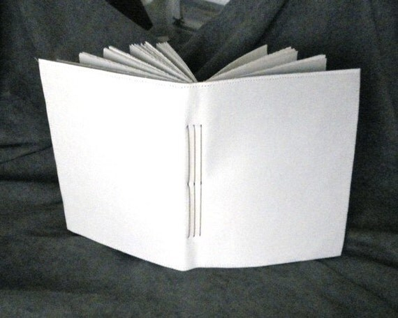 Hand Bound White Canvas Art Journal - Blank cover ready for your art