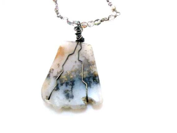 Sterling Silver Wire Wrapped Necklace Moss Agate Necklace Moss Agate Slice Pendant Necklace