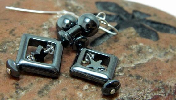 I See Stars In Your....Hematite (Clear) Hook Earrings