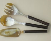 DeNatura. Set of Salad Tossers and Pie Server with Cane Handle.  Serving Set.  Wedding Present