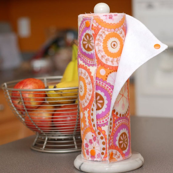 Custom Order - Reusable, Eco Friendly Snapping Paper Towel Set - YOU CHOOSE PRINT - Flannel and Birdseye