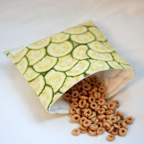 Cucumbers - Medium Reusable Sandwich Bag from green by mamamade