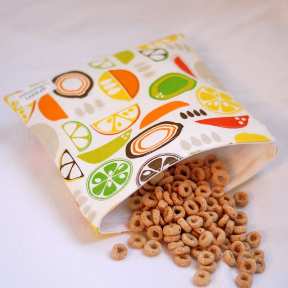 Retro Citrus  - Medium Reusable Sandwich Bag from green by mamamade