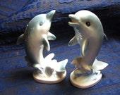 Vintage Super Cute Ceramic Dolphin Salt & Pepper Shakers Made in Japan