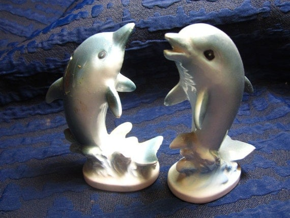Vintage Super Cute Ceramic Dolphin Salt & Pepper Shakers Made in Japan