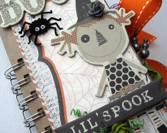 Halloween Paper Bag Album  Mini Scrapbook  Journal Shabby  OOAK