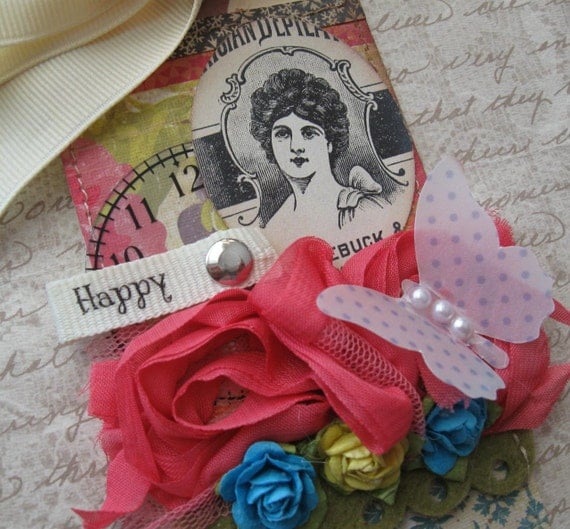 CLEARANCE Happy Everything Collage Gift Tag Shabby Chic