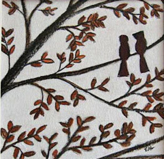 Autumn Dream - fall, birds, brown, tree, drawing, simple, peaceful