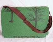 Laptop or Book Messenger Bag - Winter Tree
