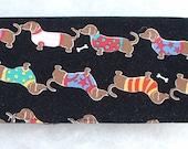 Checkbook Cover - Dachshunds with sweaters