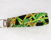 Key Fob wristlet - Green frogs