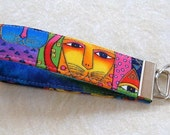 Key Fob wristlet - Laurel Burch Feline Faces