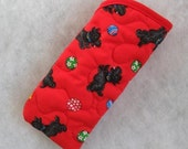 Quilted Sunglass/Eyeglass case - Scottys on red