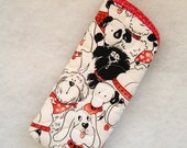Quilted Eyeglass/Sunglass Case - Dogs in black and white with a little red