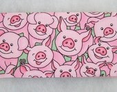 Checkbook Cover - Pink Pigs