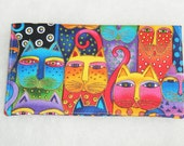 Checkbook Cover - Feline Faces Laurel Burch