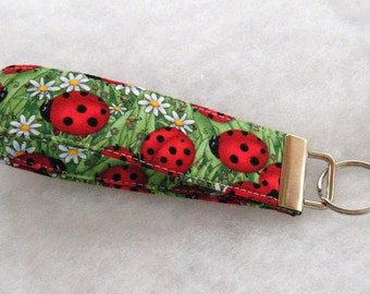 Key Fob wristlet - Ladybugs large