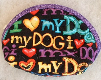 Small Quilted Purse - I love my dog