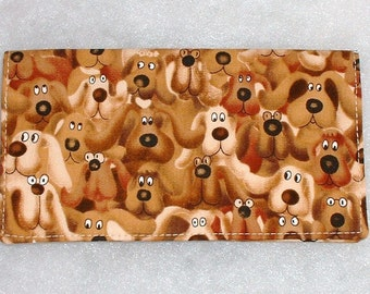 Checkbook Cover - Brown Dogs