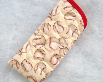 Quilted Sunglass/Eyeglass case - Baseballs