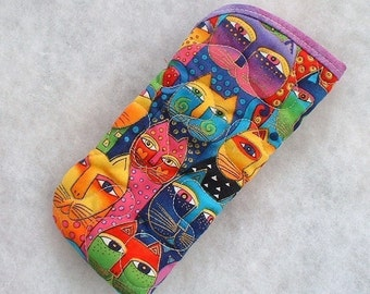 Quilted Sunglass/Eyeglass case - Laurel Burch feline faces