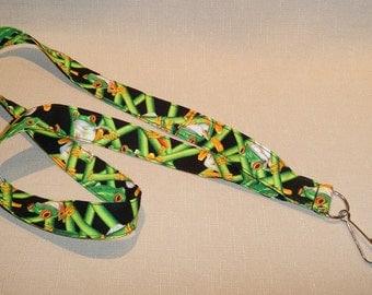 Frogs - handmade fabric lanyard