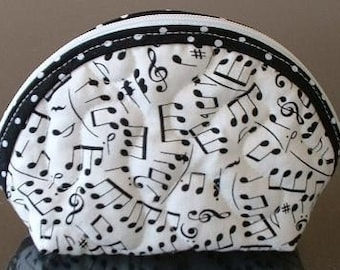 Small Quilted Purse - Musical Notes
