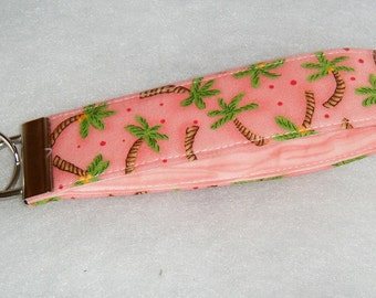 Key Fob wristlet - Palm trees with coral background