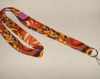 Orange Swirls - handmade fabric lanyard