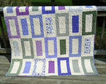 SALE --- Purples and Greens Rectangle Quilt 55x75