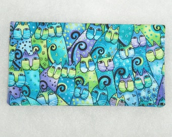 Checkbook Cover - Laurel Burch Teal cats