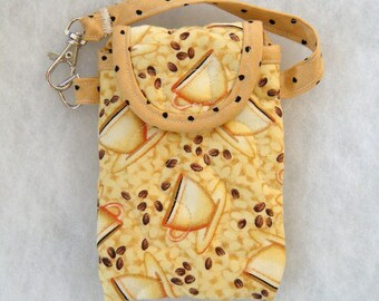 Quilted Cell phone cover - Coffee Cups tan