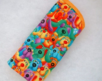 Quilted Eyeglass/sunglass case - Rainbow Dogs