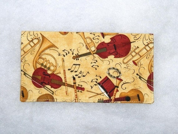 Checkbook Cover - Musical Instruments