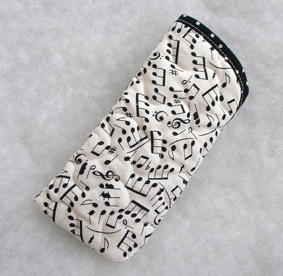 Quilted Eyeglass/sunglass case - Musical Notes