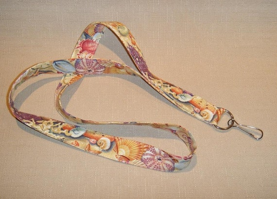 Sea Shells - handmade fabric lanyard