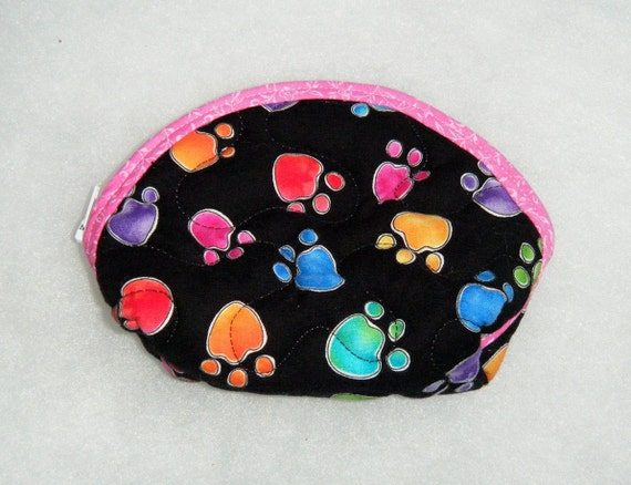Small Quilted Purse - Colored pawprints on black  2