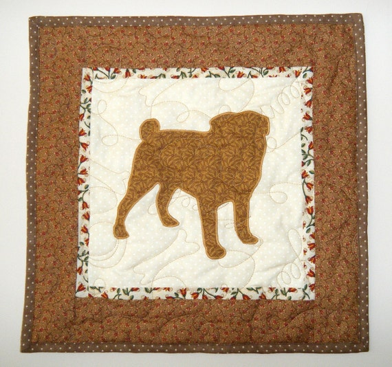 SALE ---Pug - Quilted Dog Wall Hanging 15 x 15