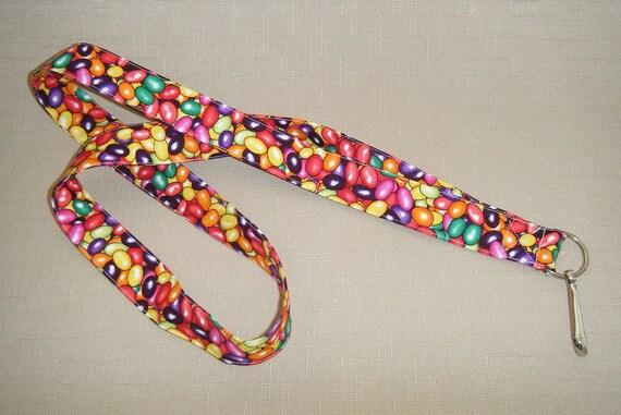 Jellybeans - handmade fabric lanyard