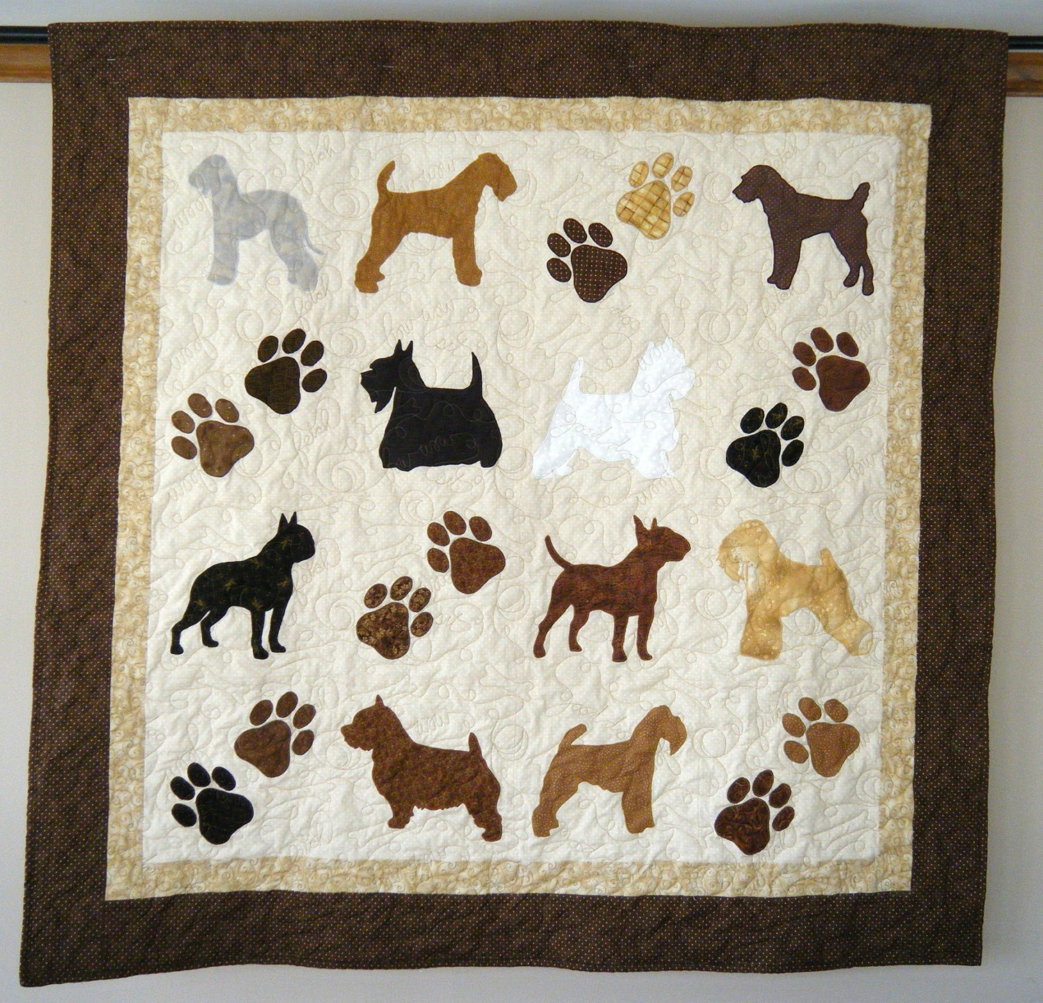 Terrier Dogs With Paw Prints Quilt Throw Bedlington Welsh