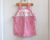 Girls Vintage Pink Tulips Shorts Romper (2t-3T)