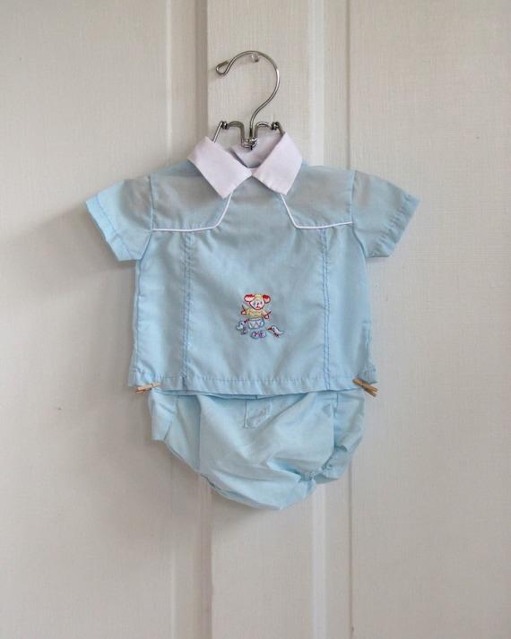 Boys Vintage Blue Puppy Embroidered Summer Suit / Romper (0-6 months)