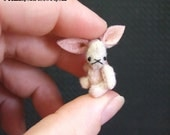 Micro Mini pink bunny rabbit by bear artist S Moog ONE INCH TALL quarter scale