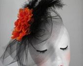 SALE Large Orange Camellia Fascinator with Black Feather Eco Friendly Felt  Halloween Kentuckey Derby