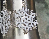 EARRINGS Tatted Lace Bead Snowflake Star . Sterling Silver Wires . FREE SHIPPING - LacyTreasures