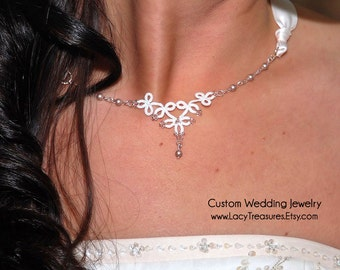 Wedding Necklace . Ribbon . Tatted Lace . Pearls . Bridal Party . White or Ivory