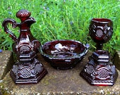 ON HOLD for AmberMeadow - Vintage 1876 Avon Cape Cod Altar Set - Bowl, Cruet, Wine Goblet and Taper Candle Holders