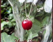 Twilight Inspired Hand-Carved Red Aventurine Apple Charm with Sterling Silver leaf bail